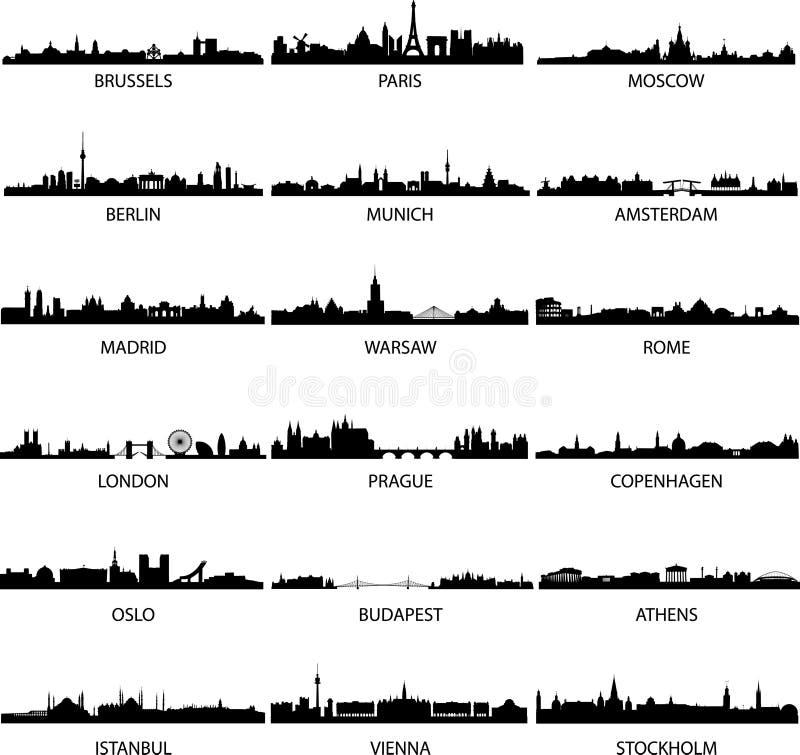 europeiska städer royaltyfri illustrationer