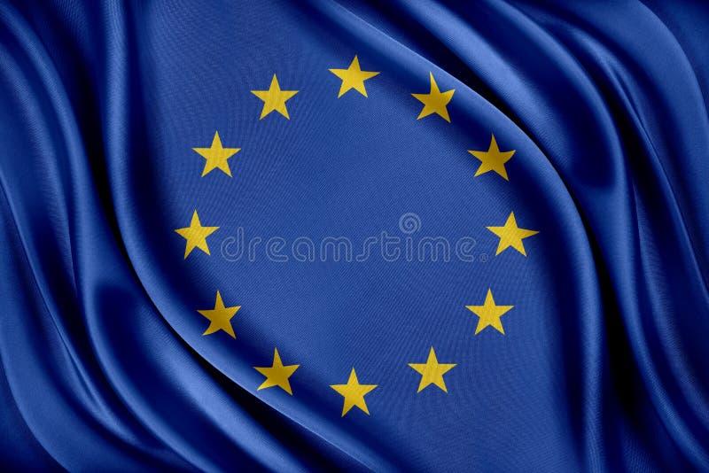 Europeiska union sjunker Flagga med en glansig siden- textur stock illustrationer