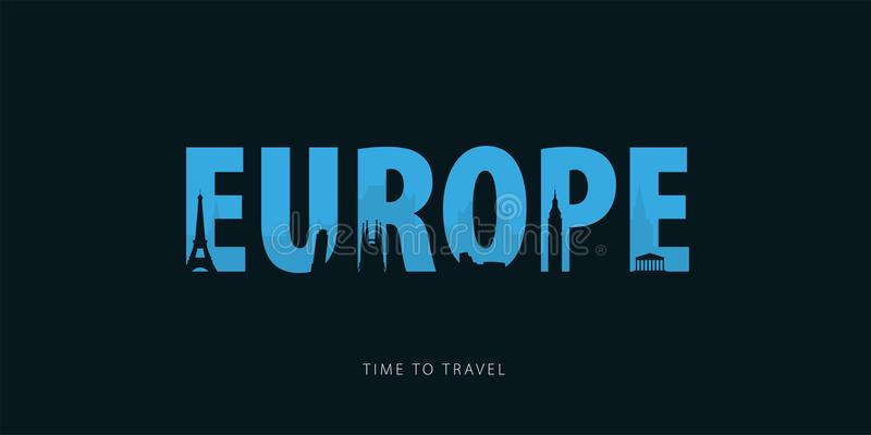 europejczycy Podróży bunner z sylwetkami widoki czas podróży również zwrócić corel ilustracji wektora ilustracja wektor
