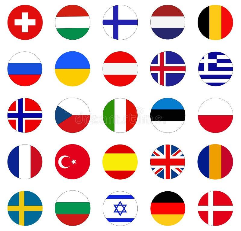 Europejczyk flaga - flaga kraje w Europa ilustracji