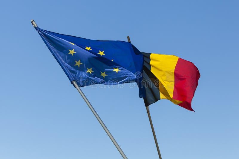Europejczyk flaga z Belgia flagą zdjęcia royalty free