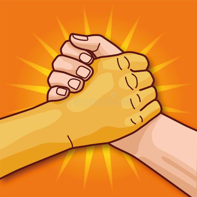Europejczyk i Azjatycka ręka podczas gdy uścisk dłoni i więź royalty ilustracja