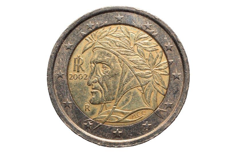 Europejczyk moneta Dwa euro, odizolowywająca na białym tle obraz royalty free