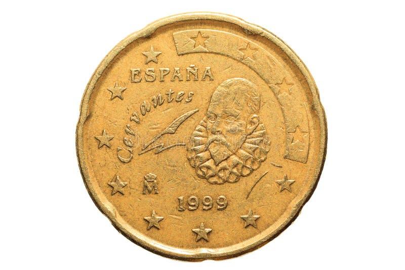 Europejczyk moneta z nominalną wartością Dwadzieścia Euro centów odizolowywających na białym tle Makro- obrazek Europejskie monet zdjęcia stock
