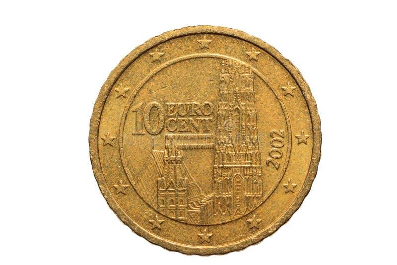 Europejczyk moneta z nominalną wartością dziesięć Euro centów odizolowywających na białym tle Makro- obrazek Europejscy coins/ obraz stock