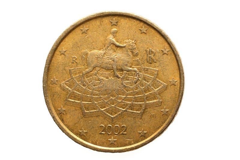Europejczyk moneta z nominalną wartością pięćdziesiąt Euro centów zdjęcie stock