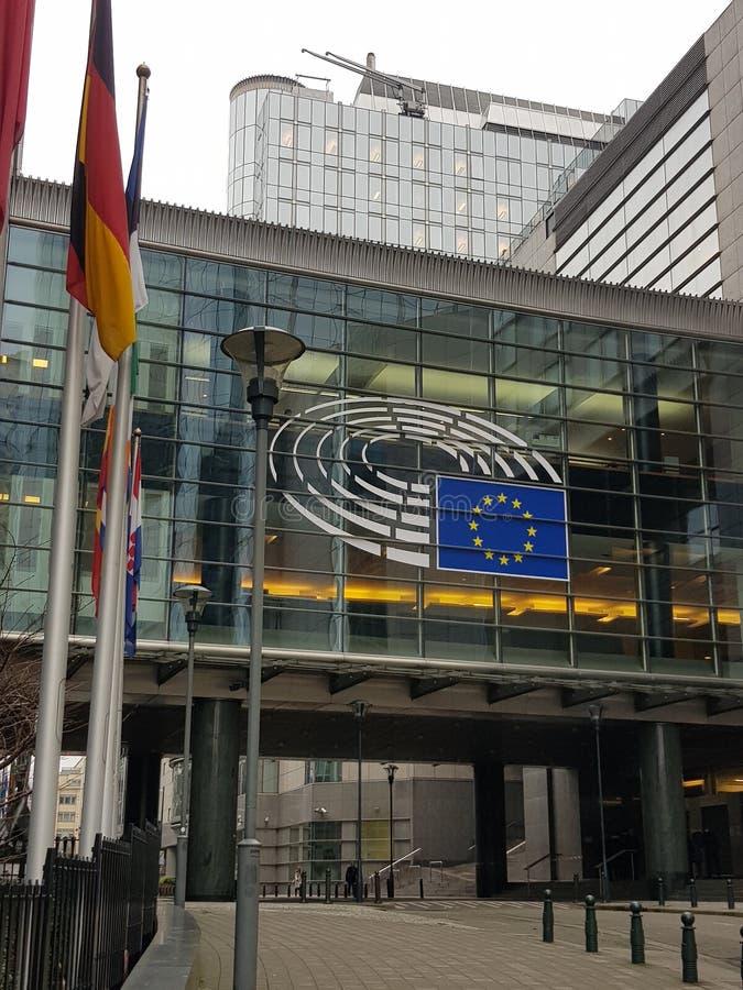 Europejczyk Parlament z flagami - Belgia zdjęcie royalty free