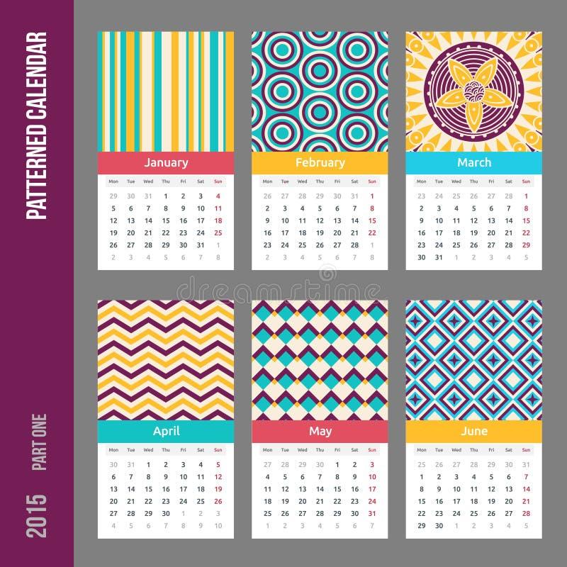 Europejczyk 2015 rok wektoru kalendarz ilustracja wektor