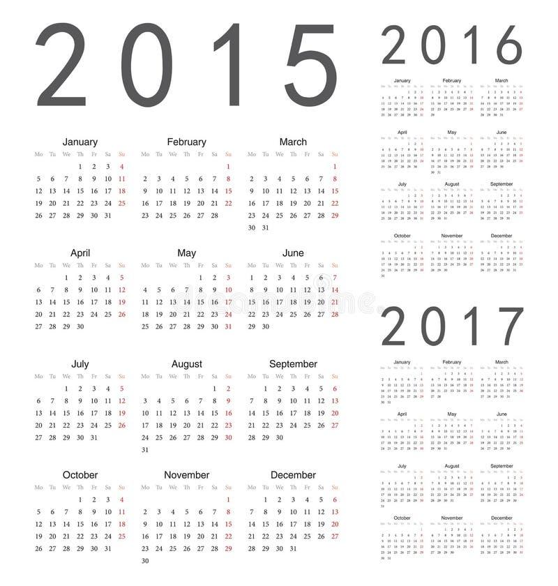 Europejczyk 2015, 2016, 2017 rok wektoru kalendarze ilustracja wektor