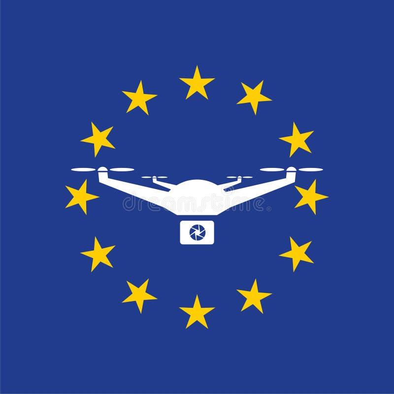 Europejczyk rządzi dla trutnia samolotu powietrznego prawa, trutnia pojęcie ilustracji