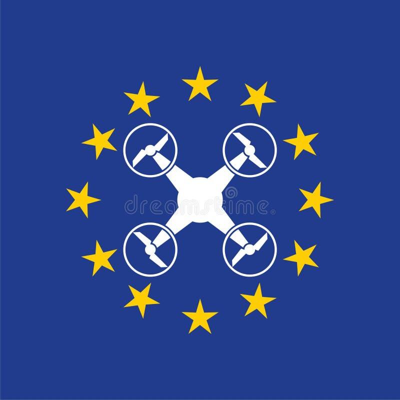 Europejczyk rządzi dla trutnia samolotu powietrznego prawa, trutnia pojęcie royalty ilustracja