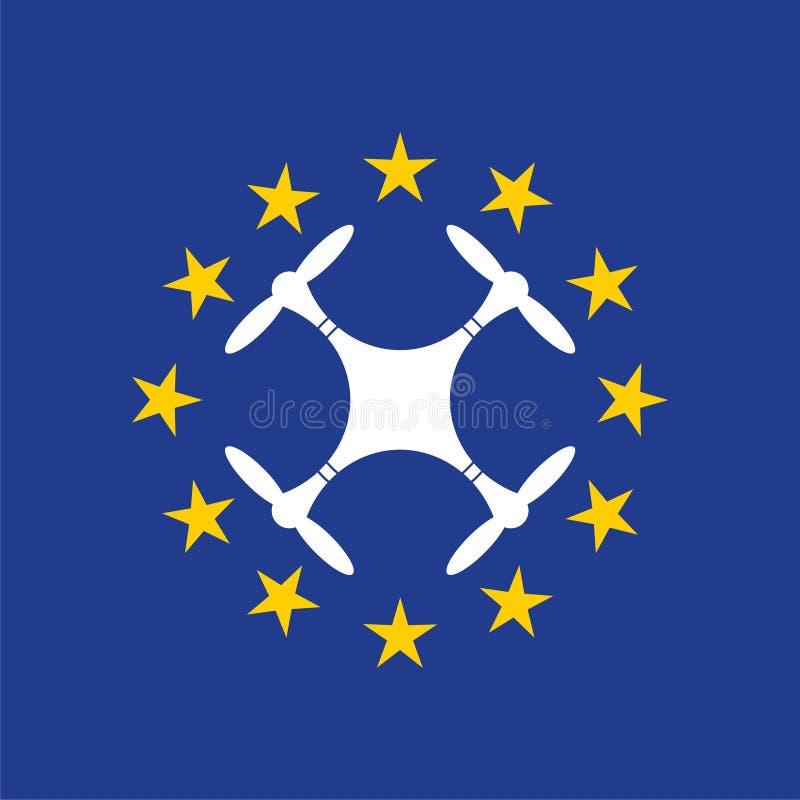 Europejczyk rządzi dla trutnia samolotu powietrznego prawa, trutnia pojęcie ilustracja wektor