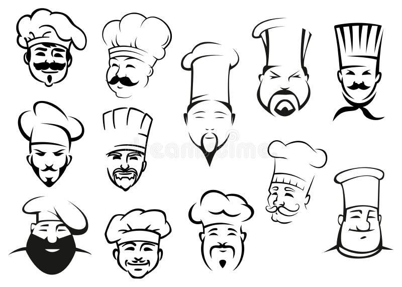 Europejczyka, amerykanina i azjata szefowie kuchni w toques, ilustracja wektor