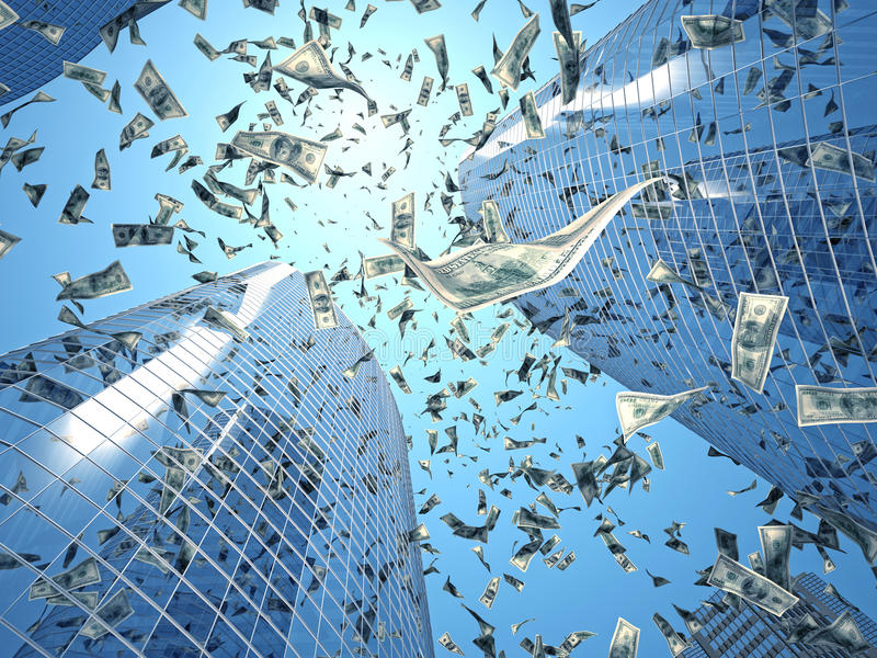 europejczyka spadać pieniądze podeszczowy niebo ilustracja wektor