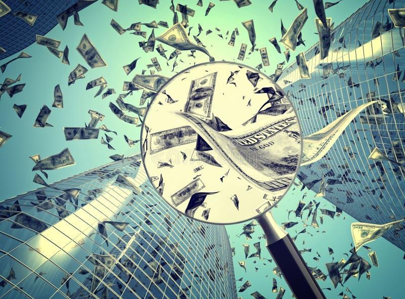 europejczyka spadać pieniądze podeszczowy niebo ilustracji