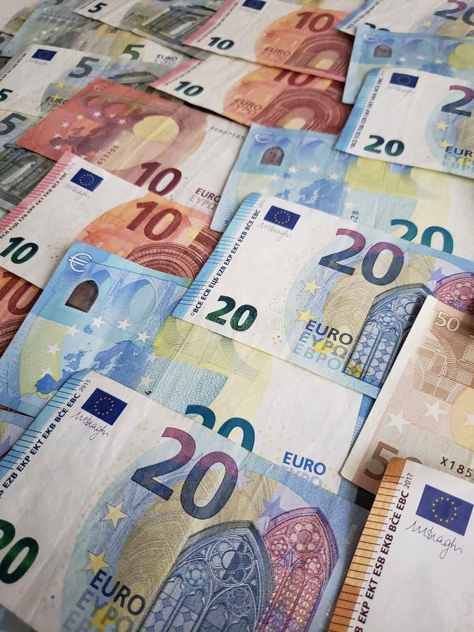 europejscy banknoty różni wyznania, tło i tekstura, zdjęcia stock
