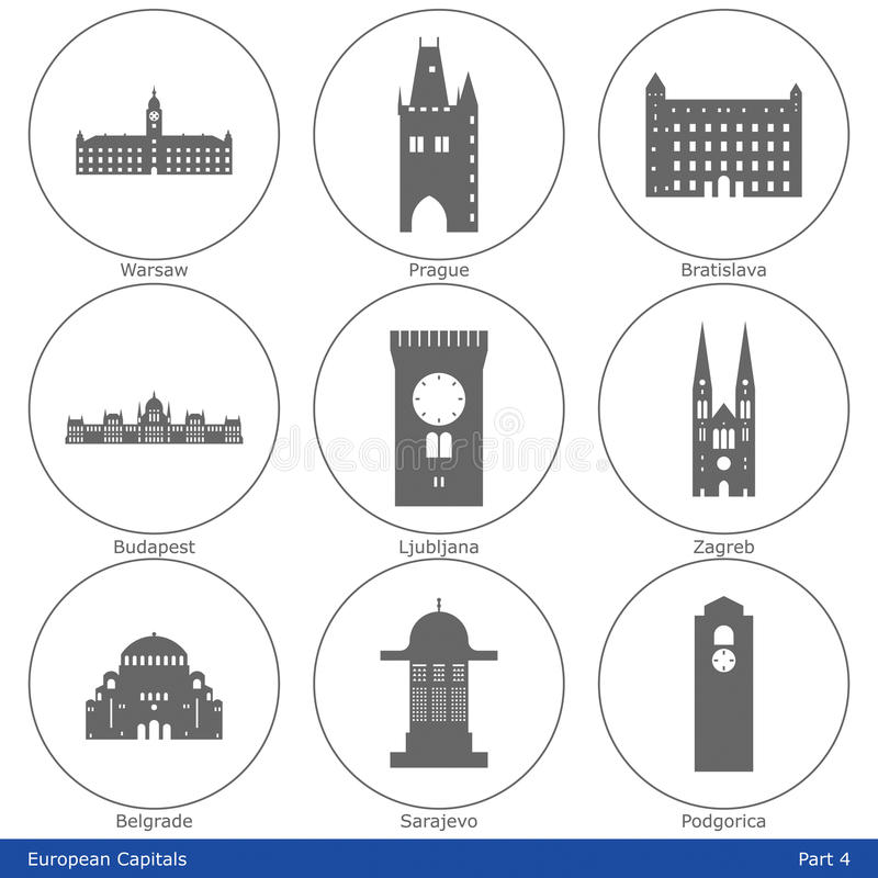 Europejscy Capitals - ikona Ustawia (część 4) royalty ilustracja
