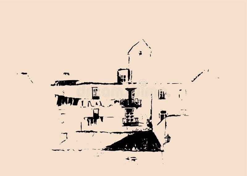 europejscy domy Uliczne fasady projekt graficzny europejczycy Podróży nakreślenie stary miasteczko ilustracja wektor