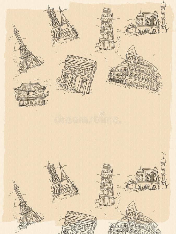 Europejscy miasta w czarny i biały ilustracji