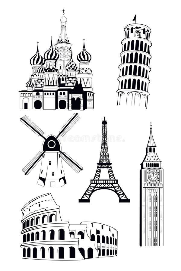 Europejscy podróży miejsca przeznaczenia w atramentu stylu ilustracji