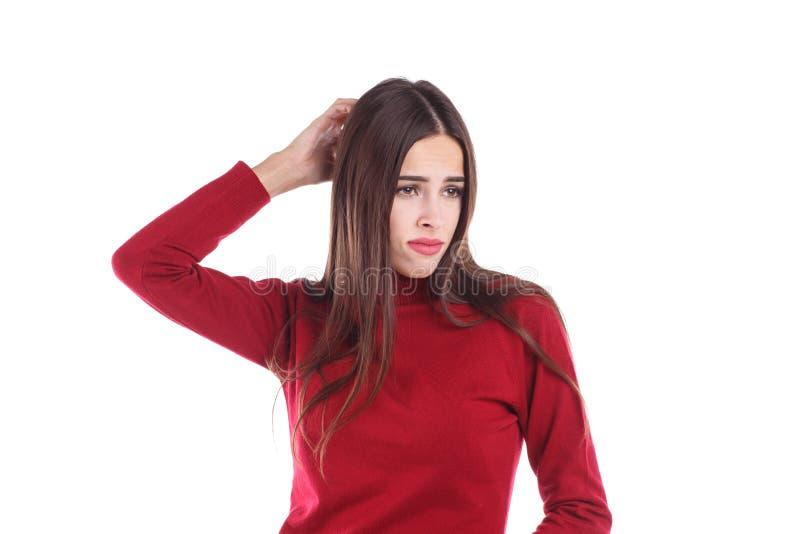 Europejska dziewczyna z rozczarowaniem, patrzeje narysy i strona plecy głowa Odizolowywający na bielu fotografia stock