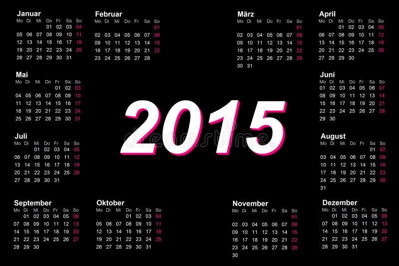 Europejska niemiec 2015 rok kalendarz royalty ilustracja