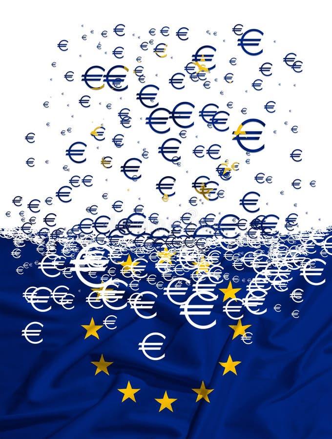 Europejska Zrzeszeniowa flaga rozpuszcza jako simbol kryzys ilustracja wektor