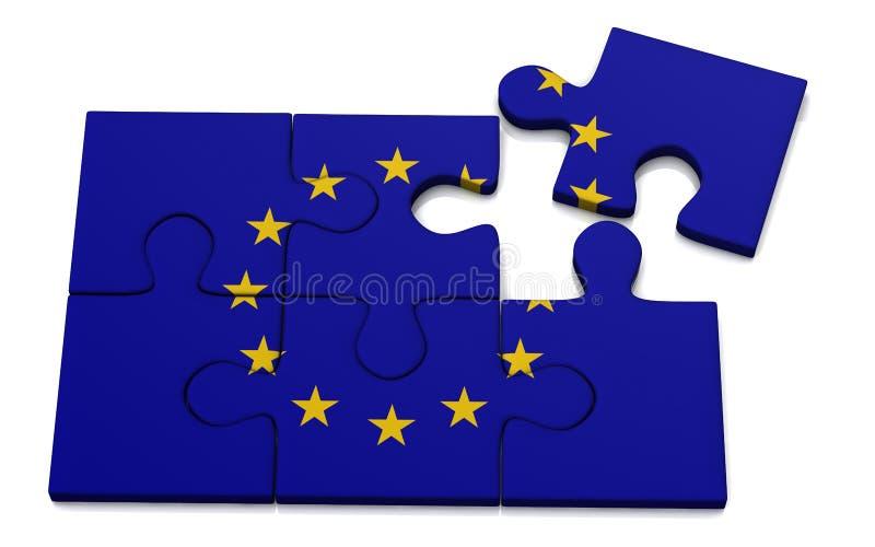 Europejska Zrzeszeniowej flaga łamigłówka, 3d ilustracja wektor