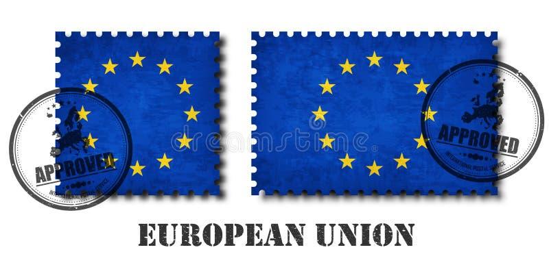 Europejska zrzeszeniowej flaga UE deseniuje znaczek pocztowego z grunge narysu starą teksturą i afiksem foka na odosobnionym tle  royalty ilustracja