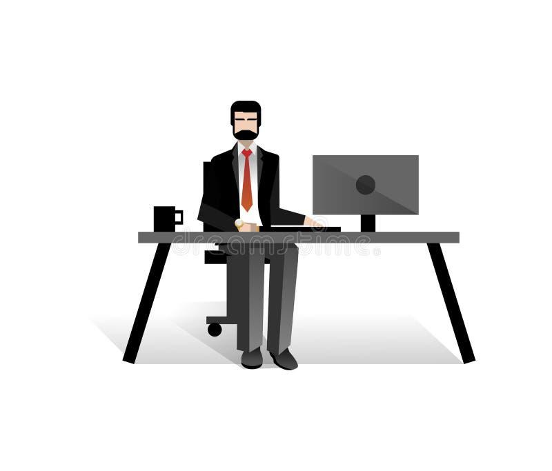Europejski brodaty biznesmen pracuje przy komputerem ilustracja wektor