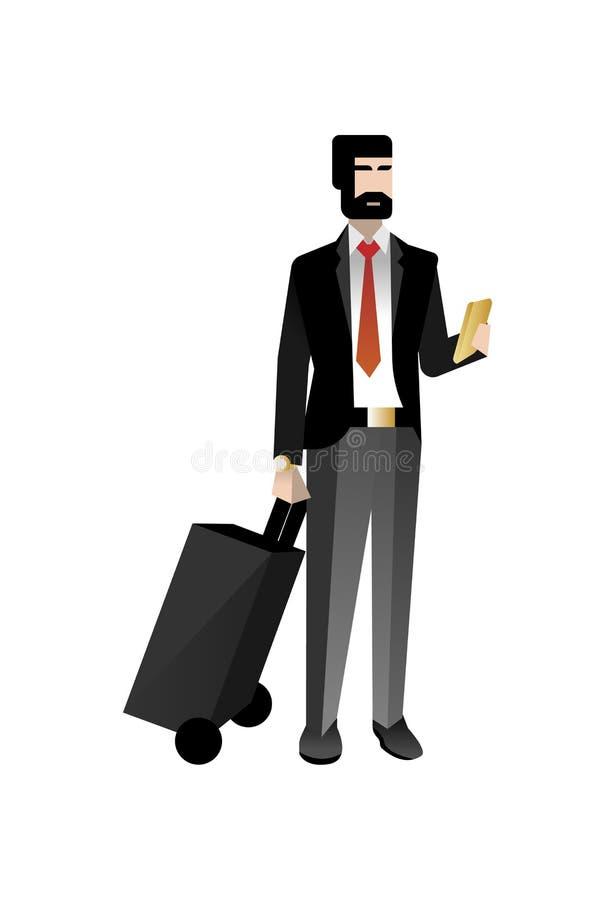 Europejski brodaty biznesmen z podróży torbą ilustracji