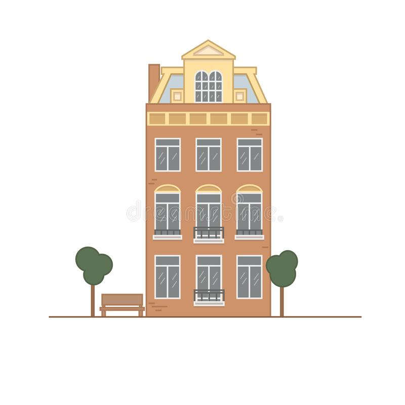 Europejski budynek na białym tle ilustracja wektor