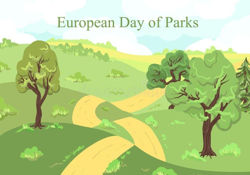 Europejski dzień parki Wakacje Maj 24 Drzewa dla karcianego ogródu botanicznego, las, otoczenie Parkowy plakat royalty ilustracja