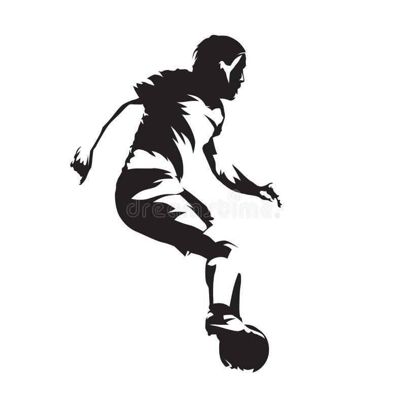Europejski gracz futbolu z piłką, piłka nożna Abstrakcjonistyczny wektorowy silh ilustracji