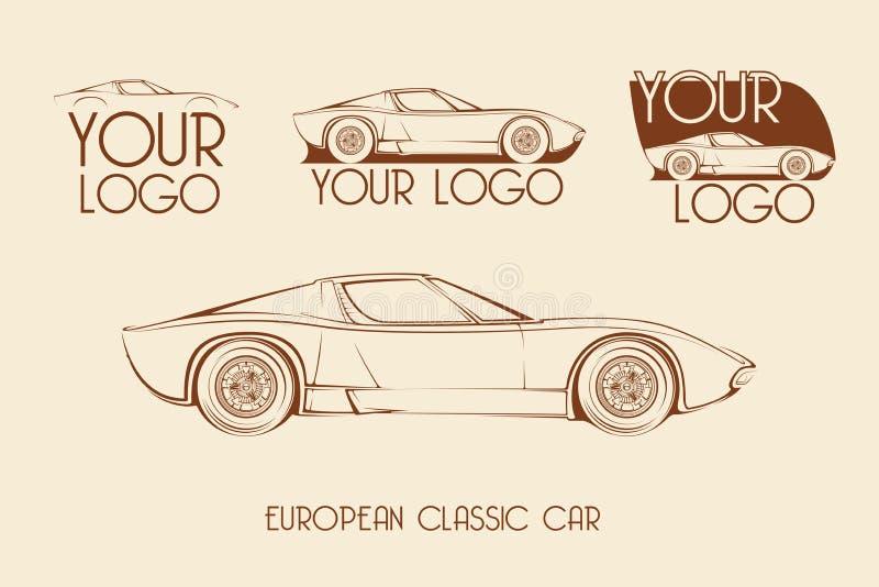 Europejski klasyczny sporta samochód, sylwetki obrazy stock