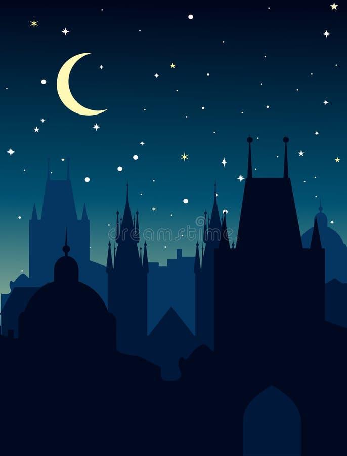 Europejski noc pejzaż miejski Wektorowa sylwetka Praga royalty ilustracja