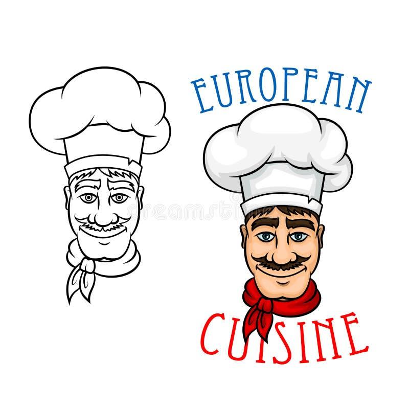 Europejski szef kuchni w kucbarskim kapeluszu royalty ilustracja