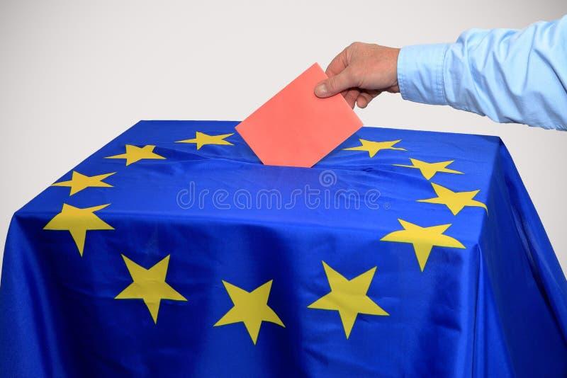 Europejski wybory, tajnego głosowania pudełko wkłada w tajnym głosowaniu obrazy royalty free