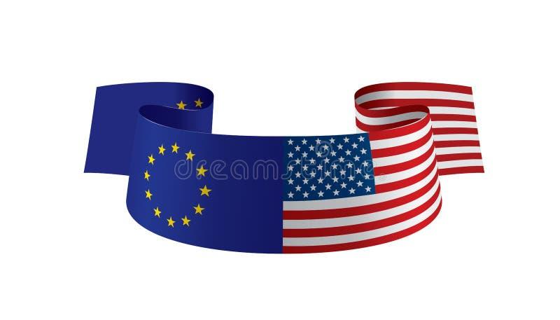 Europejski zjednoczenie i flaga amerykańskie również zwrócić corel ilustracji wektora royalty ilustracja