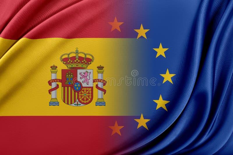 Europejski zjednoczenie i Hiszpania Pojęcie związek między UE i Hiszpania ilustracji