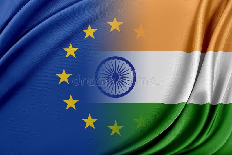 Europejski zjednoczenie i India Pojęcie związek między UE i India royalty ilustracja