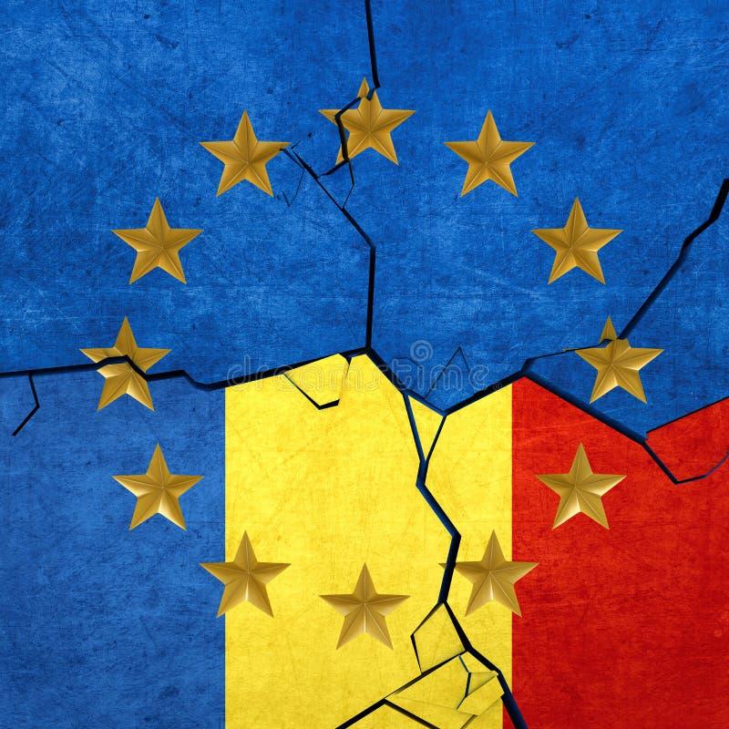 Europejski zjednoczenie i Rumuńskie flaga ilustracji