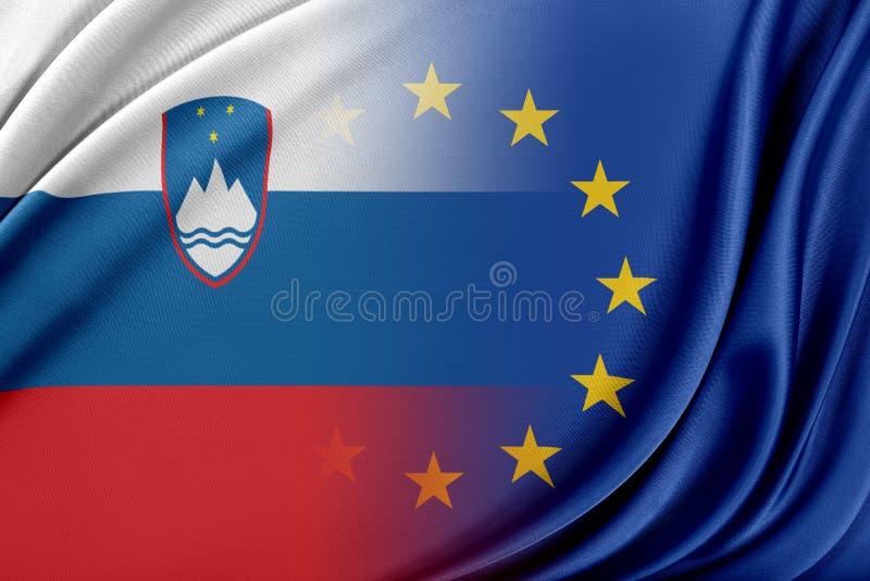 Europejski zjednoczenie i Slovenia Pojęcie związek między UE i Slovenia royalty ilustracja