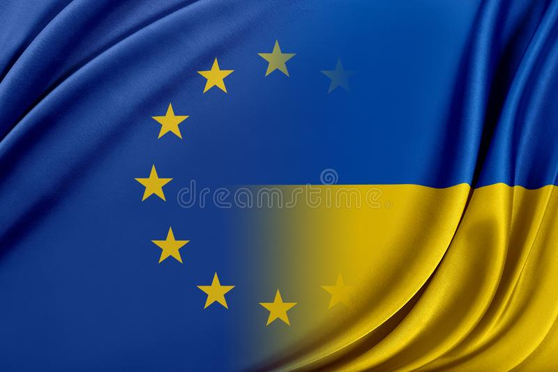 Europejski zjednoczenie i Ukraina Pojęcie związek między UE i Ukraina royalty ilustracja