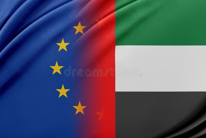 Europejski zjednoczenie i Zjednoczone Emiraty Arabskie Pojęcie związek między UE i Zjednoczone Emiraty Arabskie royalty ilustracja