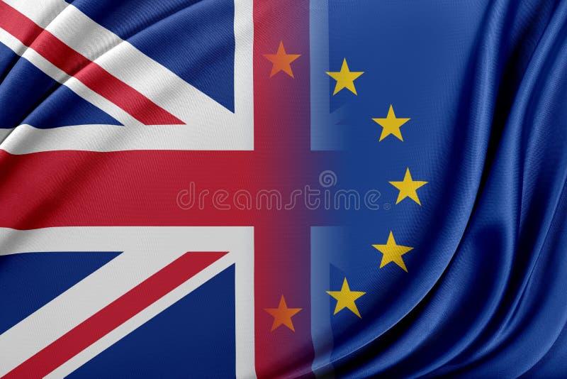 Europejski zjednoczenie i Zjednoczone Królestwo Pojęcie związek między UE i Zjednoczone Królestwo royalty ilustracja