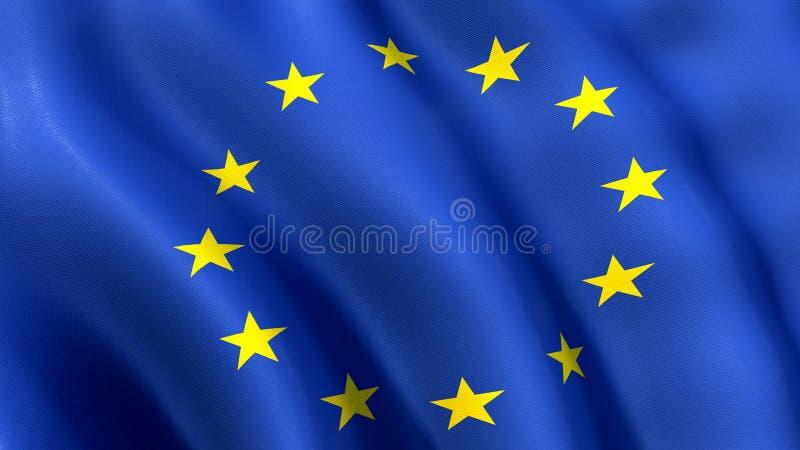 Europejski zjednoczenie, macha w wiatrze ilustracja wektor
