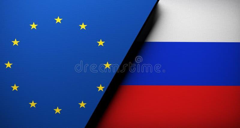 Europejski zjednoczenie Vs Rosja flaga pojęcia płótna tekstura ilustracji
