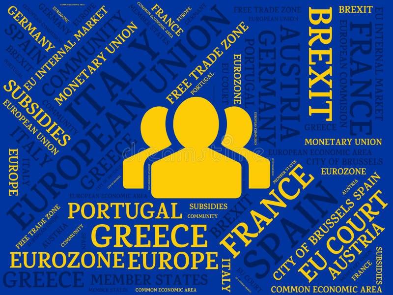EUROPEJSKI zjednoczenie - wizerunek z słowami kojarzącymi z tematem EUROPEAN_UNION, słowo chmura, sześcian, list, wizerunek, ilus ilustracja wektor