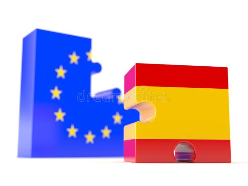 Europejski zjednoczenie z Spain flaga royalty ilustracja